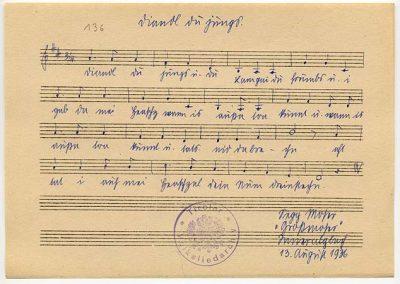 Diandl du jungs u. du Lam gui du frumbs (1 Strophe m. Mel.)